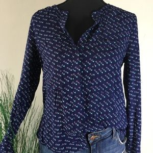Anthropologie Maeve Navy Patterned Top